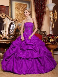 Purple Strapless Floor-length Sweet Sixteen Dress with Pick-ups in Eleva