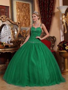 Spaghetti Straps Floor-length Sweet 15 Dress in Dark Green with Beading