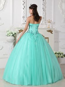 Noble Green Sweetheart Floor-length Quinceanera Gowns with Appliques