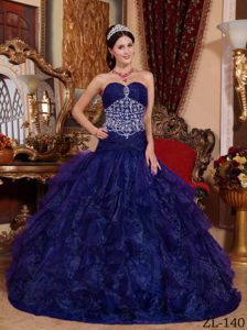 Dark Blue A-line Sweetheart Quinceanera Dress with Beading in Camden