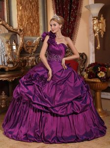 New Purple One Shoulder Floor-length Quinceanera Gown with Pick-ups