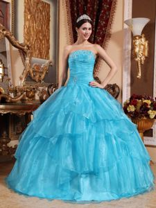 Hot Strapless Floor-length Quinceanera Gown in Aqua Blue with Beading