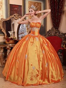 Strapless Princess Orange Dresses for Quince with Appliques in Daviston