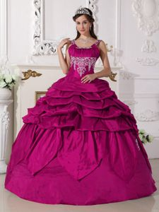 Straps Princess Quince Dress in Fuchsia with Embroidery in Brookwood