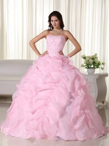Impressive Beaded Ruffled Baby Pink Dress for Quinceanera Online