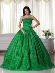 Popular Green Ball Gown Quinceanera Dresses with Flowers and Beading