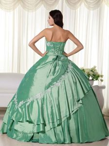 Classy Lace-up Appliqued Green Quinceanera Gown Dress with Flowers