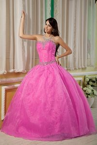 Newest Organza Rose Pink Beaded Quinceanera Gown Dress under 200