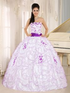 Exquisite Ruffled White Sweet 16 Dresses with Purple Embroidery Discount