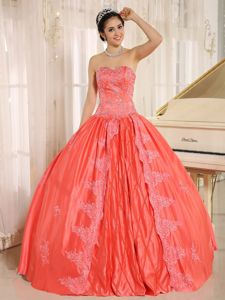 Eye Catching Ball Gown Watermelon Red Dress for Quince with Appliques