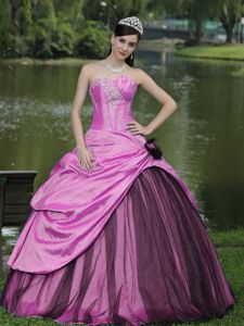 2013 High-class Beaded Pink Ball Gown Quince Dresses in Troy Alabama