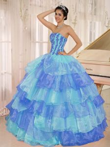 Appliqued Two-Toned Organza Sweet 15 Dresses with Layered Hem in Fashion