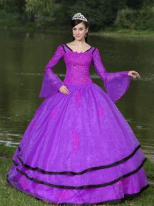 Most Recent Appliqued Purple Quinces Dress with Flounced Long Sleeves