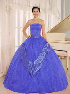 Customer Made Strapless Blue Ball Gown Quince Dress for a Cheap Price