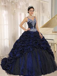 Well-Packaged Straps Navy Blue Quinces Dresses with Polka Dots and Appliques
