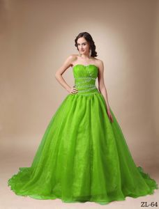 Impressive Court Train Lace-up Beaded Sweet 15 Dresses in Spring Green
