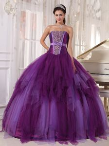 High-class Satin Tulle Purple Beaded Quinceaneras Dress in Cobija Bolivia