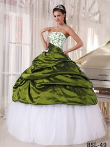 Gorgeous Olive Green and White Quinceanera Dress with Pick-ups and Embroidery
