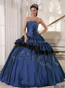 Mature Strapless Taffeta Appliqued Blue Sweet Sixteen Dresses for Wholesale