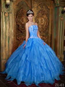 Strapless Appliqued Ruffled Aqua Blue Quinceanera Gown Fast Shipping