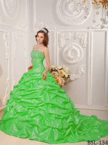 Yacuiba Bolivia Court Train Taffeta Spring Green Quince Dress with Appliques