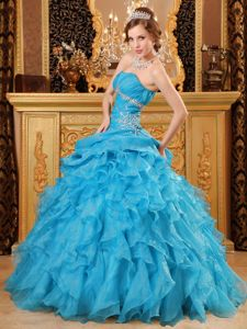 Hot Sale Strapless Teal Beaded Ruffled Sweet 15 Dresses in High Quality