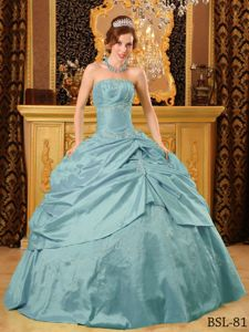 Beautiful Strapless Aqua Blue Quinces Dress with Embroidery and Pick-ups
