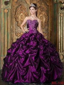 Ball Gown Eggplant Purple Quinces Dresses with Appliques and Pick-ups