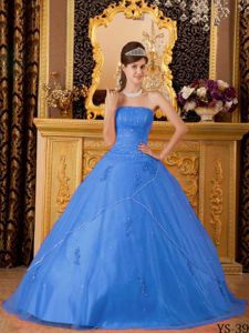 Beautiful Strapless Beaded Appliqued Blue Quinceanera Gown in Fashion