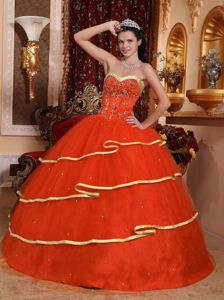 Rust Red Sweetheart Satin and Tulle Beading Quinceanera Dress in Lancaster
