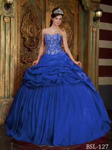 Blue Ball Gown Sweetheart Taffeta Beading and Appliques Quinceanera Dress