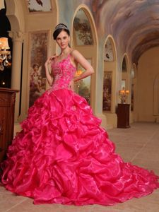 Red Spaghetti Straps Organza Embroidery Quinceanera Dress with Court Train