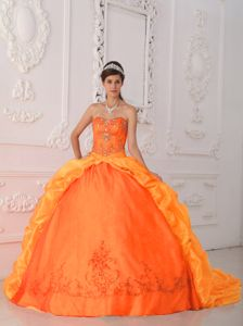 Orange Red Sweetheart Sweep Train Beading and Appliques Quinceanera Dress