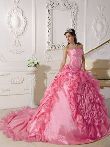 2014 Pink Strapless Taffeta Beading Sweet Sixteen Dress with Chapel Train
