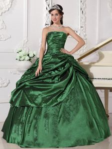 Hunter Green Strapless Taffeta Beading Quinceanera Gown Dress in Dayton