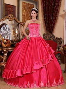 Coral Red Strapless Satin and Taffeta Embroidery Sweet Sixteen Dress