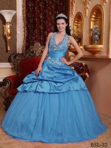 Aqua Blue Ball Gown Halter Taffeta Appliques Sweet 15 Dress in Grand Forks