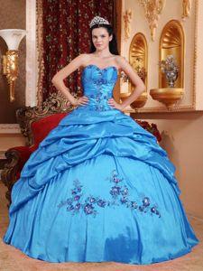 Aqua Blue Sweetheart Taffeta Appliques Quinceanera Dress in Wilmington
