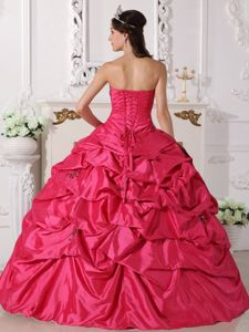 Coral Red Sweetheart Taffeta with Beading and Pick-ups Quinceanera Dress