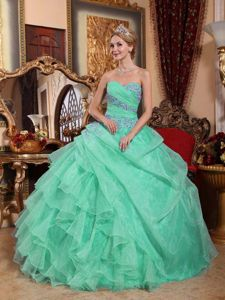 Apple Green Sweetheart Appliques and Ruched Quinceanera Dress in Greenville