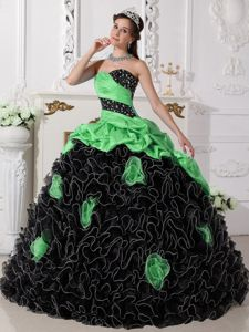 Green and Black Sweetheart Long Quince Dresses with Flowers and Ruffles
