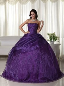 Modest Purple Strapless Full-length Quinceaneras Dress with Flower in Troy
