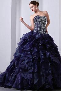 Sweetheart Navy Blue Floor-length Quinces Dress with Ruffles and Beading