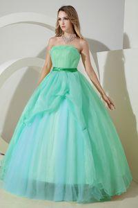 Hot Sale Light Blue Strapless Floor-length Sweet Sixteen Dresses in Albany