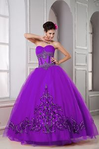 Elegant Purple Sweetheart Long Quince Dresses with Embroidery in Wayne