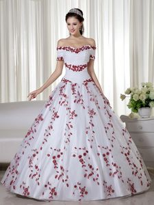 Off The Shoulder White Long Dresses For Quinceanera with Red Embroidery