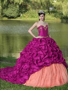 Appliqued Sweetheart Fuchsia and Peach Brush Quince Dress with Pick-ups