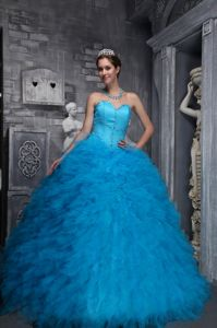 Aqua Blue Beaded Sweetheart Full-length Quinceaneras Dresses in Warren