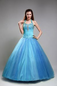 Lovely Baby Blue Beaded Halter Full-length Quinceanera Gowns in Helena