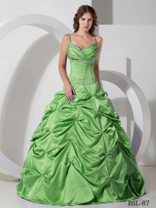 Spring Green Ruched Long Sweet Sixteen Dresses with Straps and Pick-ups